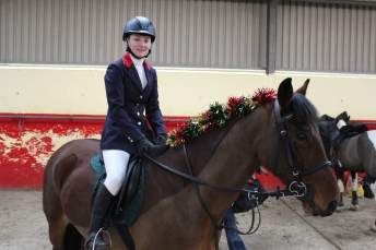 Aine & 'Linton' waiting to compete in the Intermediate Class at our Christmas Show in December 2014